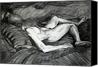 Charcoal Drawings Canvas Prints - Reclining Female Nude Canvas Print by Roz McQuillan