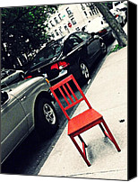 Bennett Canvas Prints - Red Chair on Bennett Avenue Canvas Print by Sarah Loft