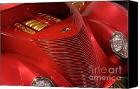 Custom Ford Canvas Prints - Red Classic Car Details Canvas Print by Oleksiy Maksymenko