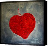 Hearts Photo Canvas Prints - Red heart Canvas Print by Bernard Jaubert