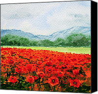 Alpine Canvas Prints - Red Poppies Canvas Print by Irina Sztukowski