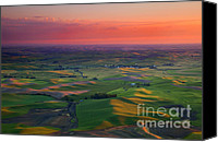 Rolling Hills Canvas Prints - Red Skies over the Palouse Canvas Print by Mike  Dawson
