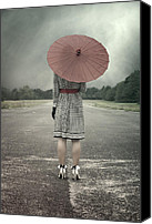 Caucasian Canvas Prints - Red Umbrella Canvas Print by Joana Kruse