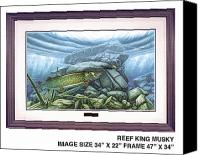 Freshwater Canvas Prints - Reef King Musky Canvas Print by JQ Licensing