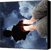 Street Canvas Prints - Reflection of boy in a puddle of water Canvas Print by Matthias Hauser
