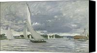 Yachts Painting Canvas Prints - Regatta at Argenteuil Canvas Print by Claude Monet