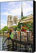 Barge Canvas Prints - Restaurant on Seine Canvas Print by Elena Elisseeva