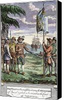 Roanoke Island Canvas Prints - Roanoke Founding, 1587 Canvas Print by Granger