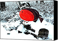 Christmas Cards Canvas Prints - Robin On A Christmas Log Canvas Print by Patrick J Murphy