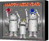 Gx9 Canvas Prints - Robo-x9 New Years Celebration Canvas Print by Gravityx Designs
