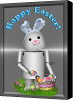 Gx9 Canvas Prints - Robo-x9 the Easter Bunny Canvas Print by Gravityx Designs