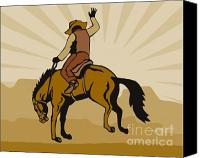 Wild Stallion Canvas Prints - Rodeo Cowboy Bucking Bronco Canvas Print by Aloysius Patrimonio