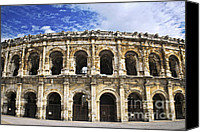 Arena Photo Canvas Prints - Roman arena in Nimes France Canvas Print by Elena Elisseeva