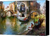 Gondoliers Canvas Prints - Romance in Venice Canvas Print by Ylli Haruni