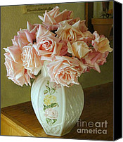 Peach Colored Canvas Prints - Rose Bouquet Canvas Print by Diana Besser