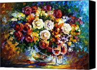 Oil Wine Canvas Prints - Roses and Wine Canvas Print by Leonid Afremov