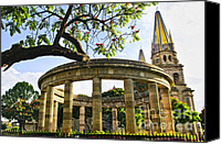 Column Canvas Prints - Rotunda of Illustrious Jalisciences and Guadalajara Cathedral Canvas Print by Elena Elisseeva