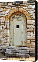 Stone Posters Canvas Prints - Route 66 - Macoupin County Jail Canvas Print by Frank Romeo