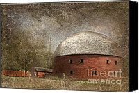 Flagpole Canvas Prints - Route 66 Round Barn Canvas Print by Betty LaRue