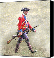 American Revolution Canvas Prints - Royal American Soldier French and Indian War Canvas Print by Randy Steele