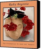 Begonia Canvas Prints - Ruby Begonia... Canvas Print by Will Bullas