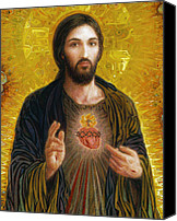 Christian Sacred Canvas Prints - Sacred Heart of Jesus Canvas Print by Smith Catholic Art