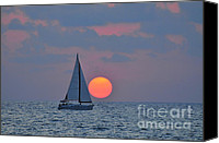 Boats Canvas Prints - Sailboat at sunset  Canvas Print by Shay Levy