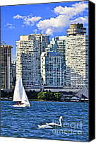 Sailboats Canvas Prints - Sailing in Toronto harbor Canvas Print by Elena Elisseeva