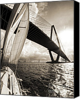 Beneteau Sailboat Canvas Prints - Sailing on the Charleston Harbor Beneteau Sailboat Canvas Print by Dustin K Ryan