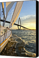 Beneteau Sailboat Canvas Prints - Sailing on the Charleston Harbor During Sunset Canvas Print by Dustin K Ryan
