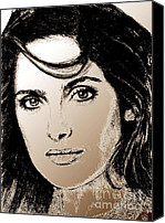 Famous Mixed Media Canvas Prints - Salma Hayek in 2005 Canvas Print by J McCombie