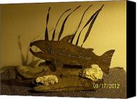 Home Decor Sculpture Canvas Prints - Salmon on Driftwood Canvas Print by JP Giarde