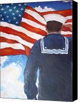Norfolk Painting Canvas Prints - Saluting Sailor Canvas Print by Suzanne  Frie