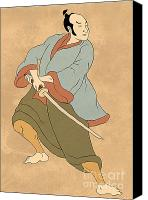 Sword Cartoon Canvas Prints - Samurai warrior with katana sword fighting stance Canvas Print by Aloysius Patrimonio