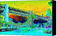 Bay Bridge Canvas Prints - San Francisco Embarcadero And The Bay Bridge Canvas Print by Wingsdomain Art and Photography