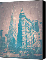 San Francisco Digital Art Canvas Prints - San Fransisco Canvas Print by Irina  March
