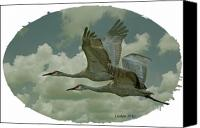 Sandhill Crane Canvas Prints - Sandhill Crane Pair Canvas Print by Larry Linton