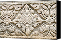 Old Reliefs Canvas Prints - Sandstone carving  Canvas Print by Kanoksak Detboon
