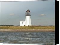 Lighthouse Pyrography Canvas Prints - Sandy Point Lighthouse Canvas Print by Thomas Theroux