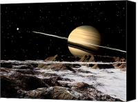 Solar Rings Canvas Prints - Saturn Seen From The Surface Canvas Print by Ron Miller