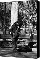 New York Music Canvas Prints - SAX MAN of CENTRAL PARK in BLACK AND WHITE Canvas Print by Rob Hans