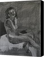 Charcoal Drawings Canvas Prints - Seated Female Nude Canvas Print by Joanne Claxton