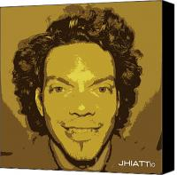 Justin Hiatt Canvas Prints - Self Portrait Canvas Print by Justin Hiatt