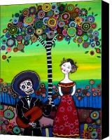 Dia De Los Muertos Canvas Prints - Serenata Canvas Print by Pristine Cartera Turkus