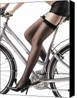 Sensuality Photo Canvas Prints - Sexy Woman Riding a Bike Canvas Print by Oleksiy Maksymenko