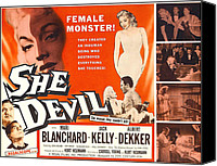 Horror Fantasy Movies Canvas Prints - She Devil, Blonde Woman Featured Canvas Print by Everett
