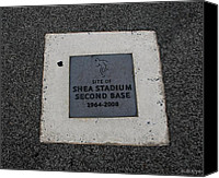Ny Mets Canvas Prints - Shea Stadium Second Base Canvas Print by Rob Hans