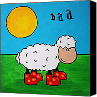 Wellington Painting Canvas Prints - Sheep Canvas Print by Sheep McTavish