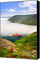 Maritime Canvas Prints - Ship entering the Narrows of St Johns Canvas Print by Elena Elisseeva