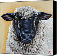 Sheep Canvas Prints - Shirley Canvas Print by Laura Carey